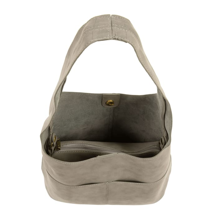 Stone Grey Jenny Sueded Hobo Tote - Accessories- Jewelry and Totes