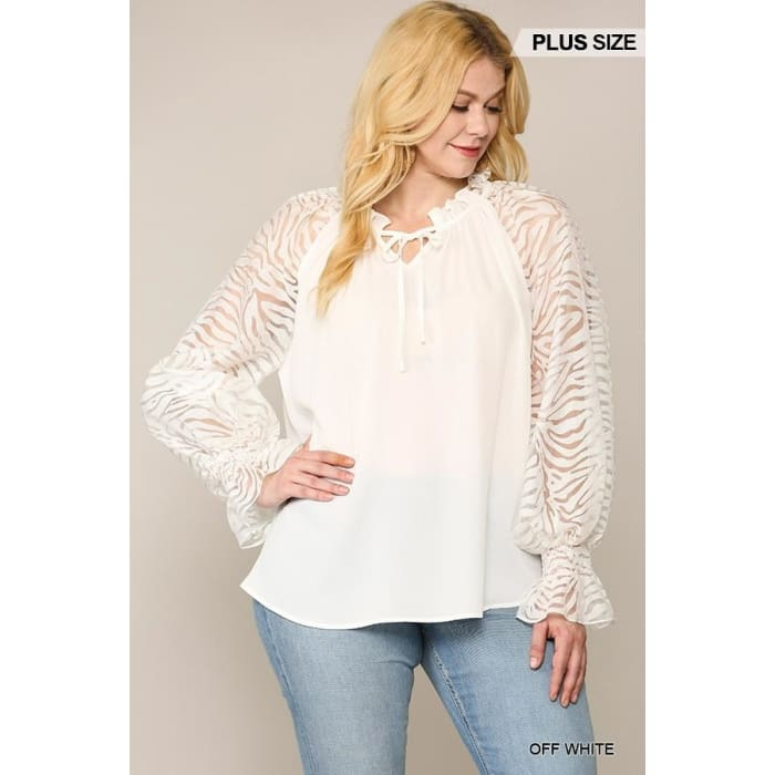 Zebra Burn Out Cream Top - Apparel - Plus Size 1XL - 3XL