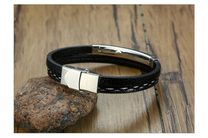Personal Memories Leather Bracelet with Engraved Custom Stainless Steel Bar
