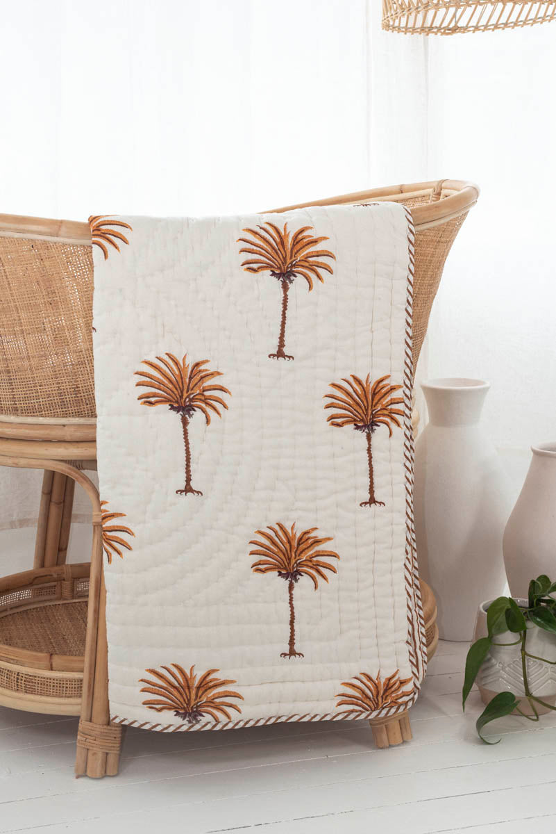 Cot Quilt ~ Cotton Filled ~ Rust Palm