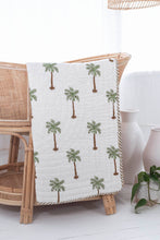 Load image into Gallery viewer, Cot Quilt ~ Cotton Filled ~ Green Palm/ Golden brown reverse