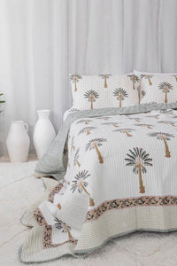 Queen / King Quilt ~ Kantha ~ Green Palm Springs