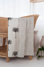 Load image into Gallery viewer, Kantha Cot Quilt ~  Grey Palm