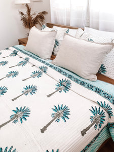 Queen/King~ Kantha ~ Blue Palm