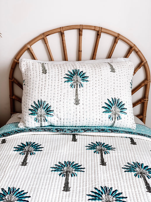 Pillow Case ~ Kantha ~ Blue Palm