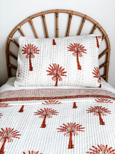 Single Kantha Quilt ~ Pink and Burnt Orange Palm