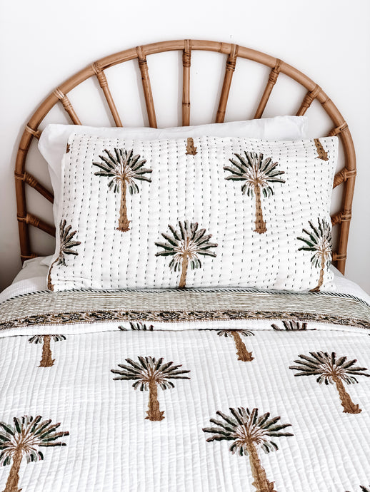 Pillow Case ~  Kantha ~ Green Palm Springs