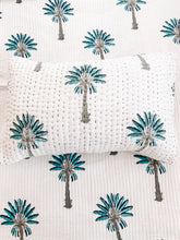 Load image into Gallery viewer, Pillow Case ~ Kantha ~ Blue Palm