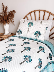 Single Kantha Quilt ~ Blue Palm