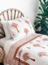Load image into Gallery viewer, Single Kantha Quilt ~ Pink and Burnt Orange Palm
