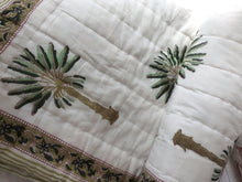 Load image into Gallery viewer, Cot Quilt ~ Cotton Filled ~ Green Palmy Nights
