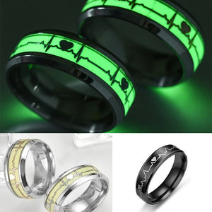 Glow in The Dark Heart Rate Ring