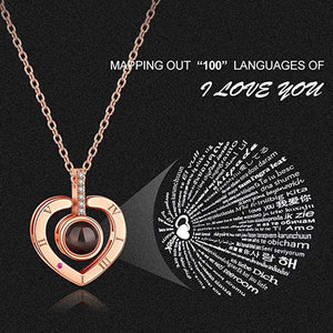 I Love You Necklace 100 Languages Heart Love Necklace