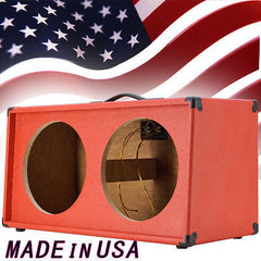 2x12 Guitar Speaker empty Cabinet Fire Hot Red Tolex Slanted front shape