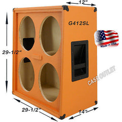 (1 each) 4x12 Empty Guitar Speaker Cabinet Half Stack Vertically Slanted Orange