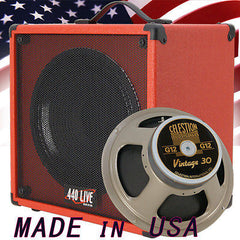 1x12 Guitar Speaker Extension Cab W/ 8 Ohms CELESTION VINTAGE 30 Hot Red Tolex