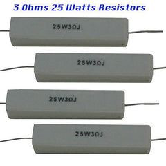 Ceramic Resistors 4 each 3 Ohms 25 watts