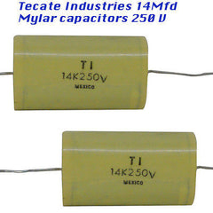 Capacitors 14 Mfd 250 Volts 2 each Mylar material, Made by Tecate Ind,