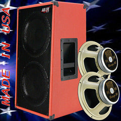 2x12 Vertical Guitar Spker Cabinet Fire Hot red Tolex Celestion Vintage 30 Spkr