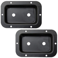 "Jack plates with 2, 1/4"" cut outs 2 each size 3""X5"" steel black powder coated"