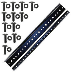 "rack rail 8U space 14"" (1 Pair) black plated 10/32 Standard thread for amp rack"