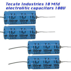 Capacitors 10 Mfd 250 Volts 4 each Electrolitic material, Made by Tecate Ind,