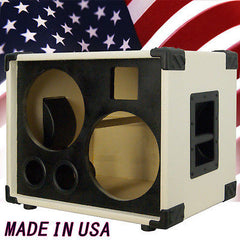 2X10 with tweeter Bass Guitar  Empty Speaker Cabinet Ivory White Tolex Blk Face