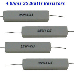 Ceramic Resistors 4 each 4 Ohms 25 watts
