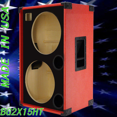 greg 39 s pro audio 2x15 with tweeter empty bass guitar speaker cabinet fire red tolex bg2. Black Bedroom Furniture Sets. Home Design Ideas