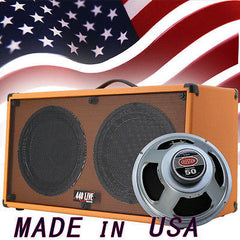 (1) 2x12 Guitar Speaker Cabinet Orange Tolex W/Celestion Rocket 50 Speakers