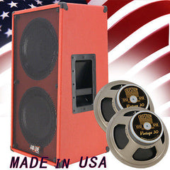 2x12 Vertical Guitar Speaker Cabinet Fire Hot Red W/Celestion Vintage 30 Spkrs