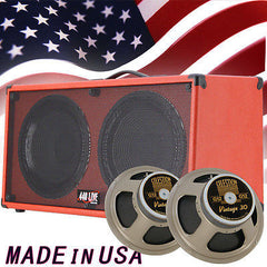 1) 2x12 Guitar Speaker Cab Fire hot Red Tolex W/Celestion Vintage 30 Speakers