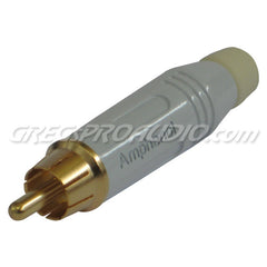 Amphenol ACPR-WHITE Premium Gold Tip RCA Cable Mount Connector