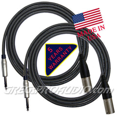 AUDIO CABLE, XLRm-1/4''trs, for balanced signal or mic, 6 ft, 2,each