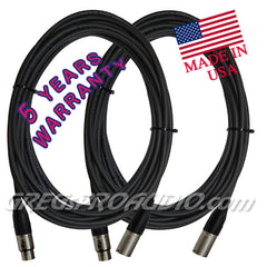 MICROPHONE CABLE, XLRm-XLRf, balanced signal or mic, 30ft, 2 each
