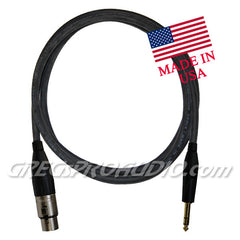 "AUDIO CABLE, 1/4""trs-XLRf for balanced signal 6 ft lenght"