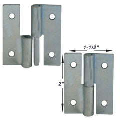 "Take Apart Pin Hinge 4 pieces 2""x1.5"" zinc plated 12 gauge metal"
