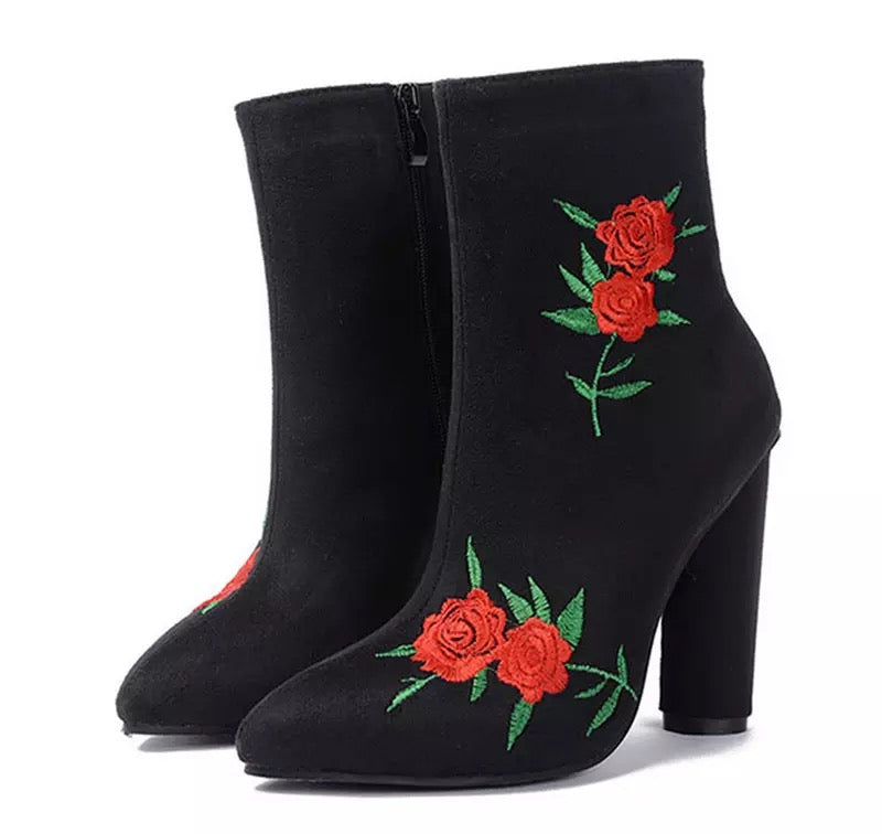 Flower Stiefel Autumn Winter Stiefel Long Fashion Lady High Heel Long Stiefel Stiefel EmbroideROT W d5585c