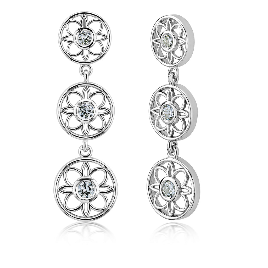 Flower Earrings • .43tw Old Europeans