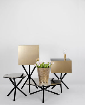 NEB Hexagonal Sofa Table with Top in Brass, Zinc or Copper