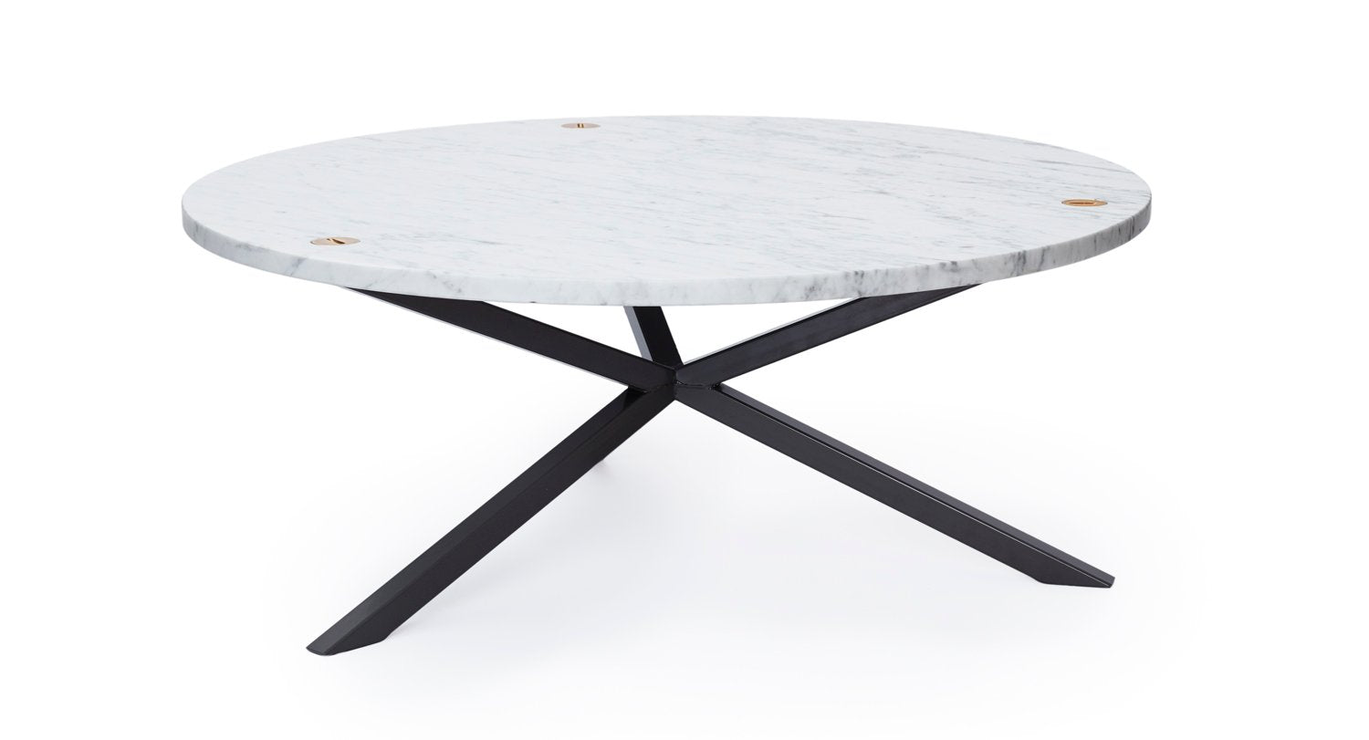 NEB Round Coffee Table with Top in Carrara Marble