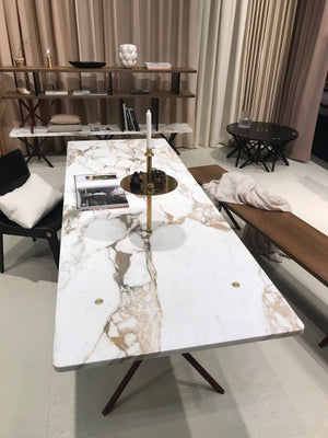 NEB Rectangular Table with Top in Calacatta Marble