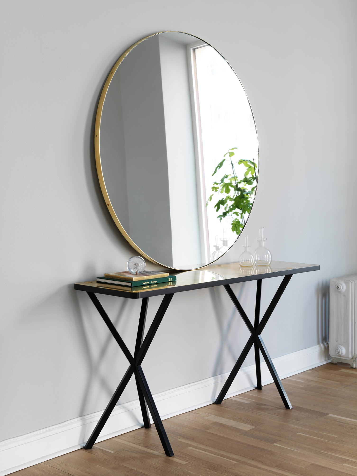 NEB Console Table with Top in Brass, Zinc or Copper