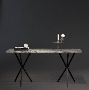 NEB Console Table with Top in Verde Italia Granite