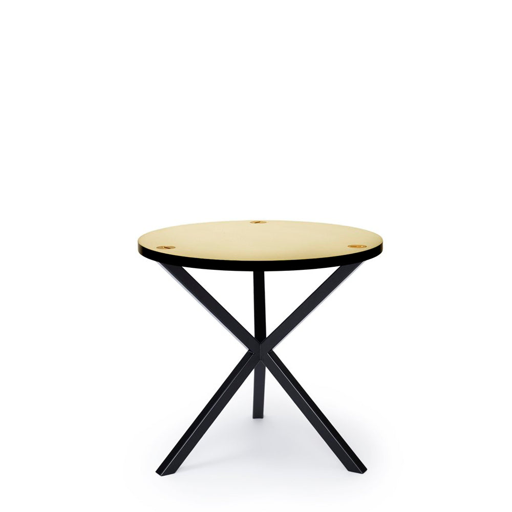 NEB Round Side Table with Top in Brass, Zinc or Copper