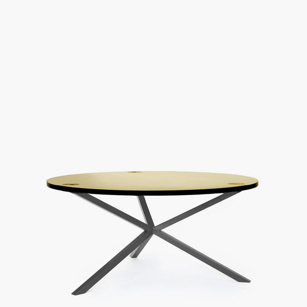 NEB Round Coffee Table with Top in Brass, Zinc or Copper