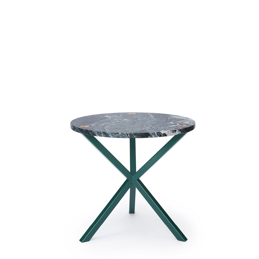 NEB Round Side Table with Top in Verde Italia Granite
