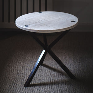 NEB Round Side Table with Top in Travertine