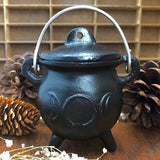 "4.5"" Triple Moon Cast Iron Cauldron with Lid"