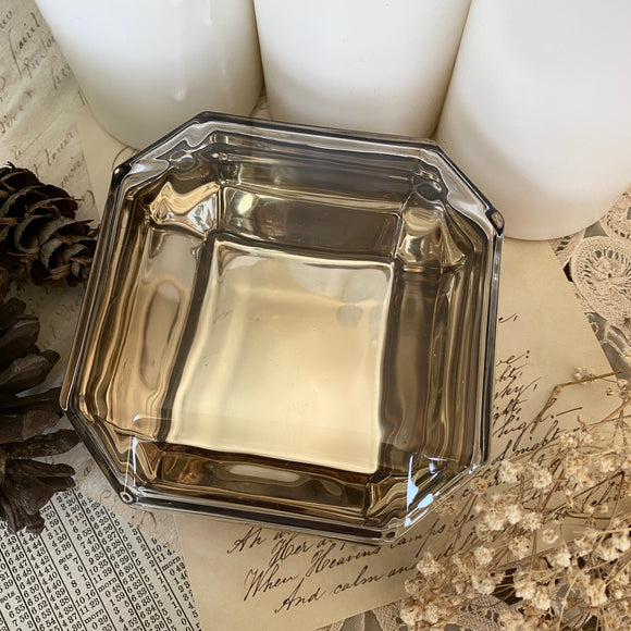 Faceted Glass Gemstone Dish with Lid